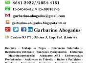 Abogado Laboral c/gratis Despido Indemnizacion tel 2054 4151 Cap Fed Garbarino Abogados