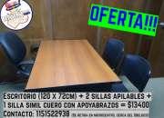 Promo: Escritorio + 2 sillas apilables + 1 silla con apoyabrazos = $13400
