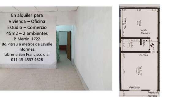 Departamento 2 ambientes 45 m2