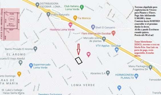 Terreno de 3.742,42 m2 excelente ubicación a 54 km de capital federal u$s90 el m2